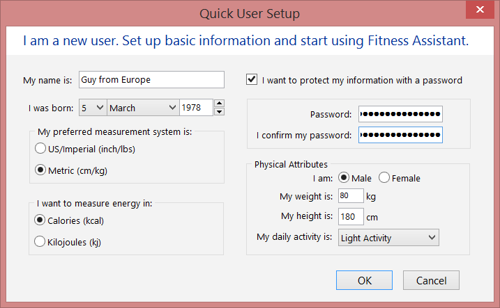 Create a Fitness Assistant user (Metric)