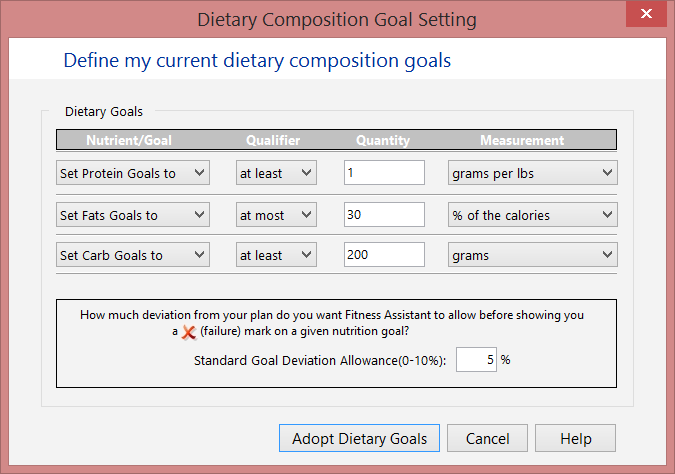 Set dietary composition goals screen.