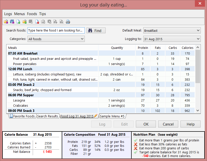 The food logs screen. Quickly log calories. Setup meals and menus.