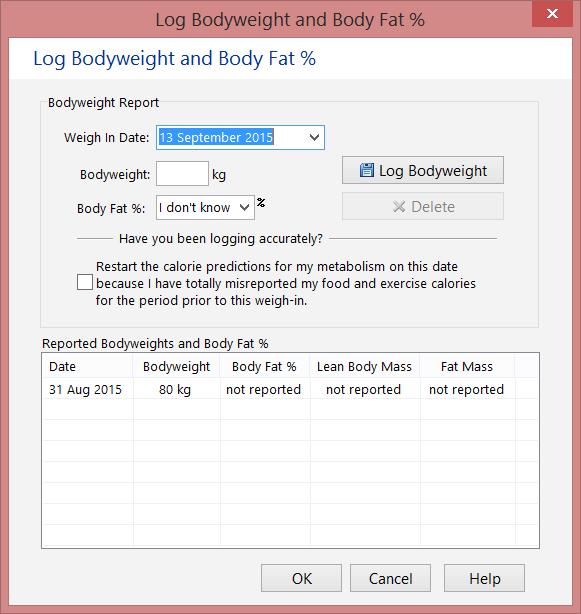 Log Bodyweight and Body Fat Screen (kilograms)