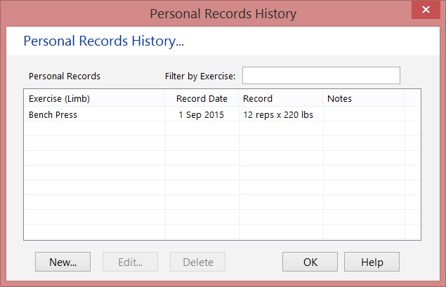 Your Personal Records (Best Lifts) Screen