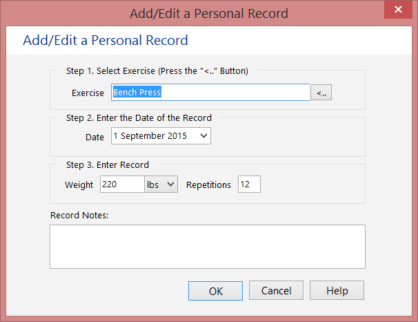 Personal Lift Records Editor