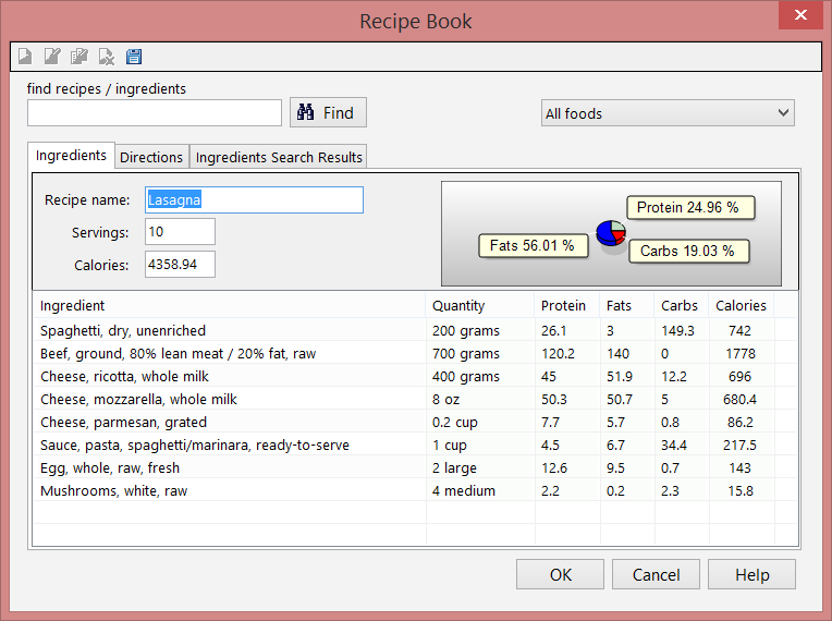 The recipe book screen. Customize your recipes.