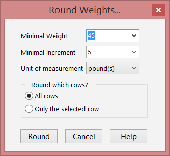 Round the weights screen.