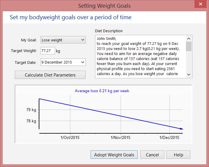 Set your bodyweight goals screen (goal, date) - kgs